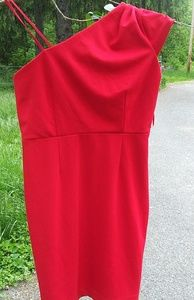 NWT Adrienne Vittadini red 1 shoulder sheath dress